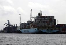 The container vessel Maersk Phuket berths to discharge containers at Apapa port in Nigeria's commercial capital Lagos June 29, 2010. REUTERS/Akintunde Akinleye
