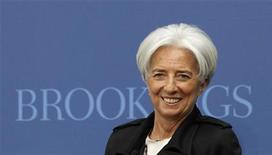 """International Monetary Fund Managing Director Christine Lagarde speaks at the Brookings Institution on """"Seizing the Moment: Thinking Beyond the Crisis"""" in Washington April 12, 2012. REUTERS/Kevin Lamarque"""