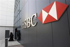 Women walk out of a branch of HSBC at Dubai Internet City in Dubai February 5, 2012. REUTERS/Nikhil Monteiro