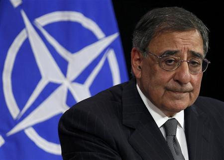 U.S. Defense Secretary Leon Panetta attends a news conference at the Alliance headquarters in Brussels April 18, 2012. REUTERS/Yves Herman