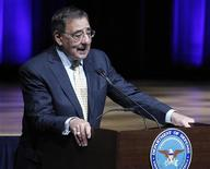 U.S. Secretary of Defense Leon E. Panetta speaks during Holocaust Remembrance Day at the Pentagon in Washington April 19, 2012. REUTERS/Jose Luis Magana