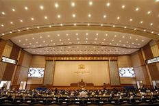 A view of the third session of Upper House parliament meeting in Naypyitaw April 23, 2012. REUTERS/Soe Zeya Tun