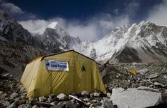 Tents are seen at Everest base camp in Nepal, May 03, 2011. REUTERS/Laurence Tan