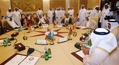 Foreign Ministers of the Arabian Gulf states participate in a Gulf Cooperation Council (GCC) meeting in Doha April 17, 2012. REUTERS/Mohammed Dabbous