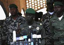 Mali's junta leader Captain Amadou Sanogo speaks during a news conference at his headquarters in Kati April 3, 2012. REUTERS/Luc Gnago