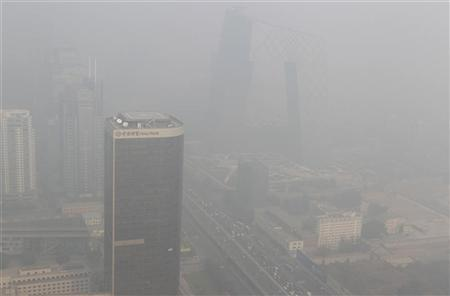 Buildings in Beijing are pictured on a day with heavy haze and smog October 29, 2011. REUTERS/Jason Lee
