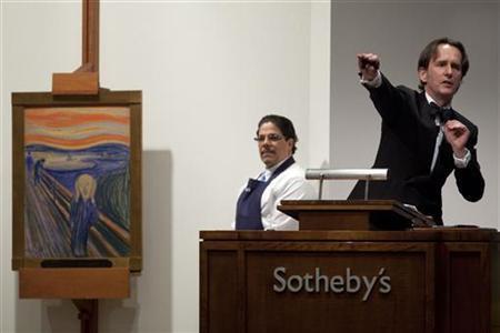 5月2日、ノルウェーの画家、エドバルト・ムンクの代表作「叫び」が、米ニューヨークで競売大手サザビーズのオークションに掛けられ、史上最高の約1億2000万ドル(約96億2000万円)で落札された(2012年 ロイター/Andrew Burton)