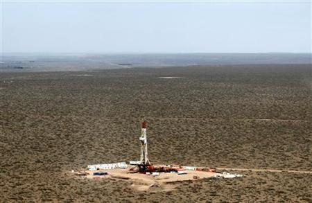 An aerial view of a shale oil drilling rig in Argentina, October 14, 2011. REUTERS/Enrique marcarian