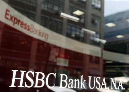 The entrance to a HSBC Bank branch is seen in New York in this August 1, 2011 file photo. REUTERS/Shannon Stapleton/Files