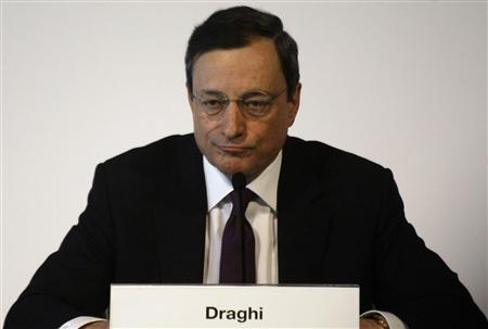 European Central Bank (ECB) President Mario Draghi addresses a news conference following an ECB meting in Barcelona May 3, 2012. REUTERS/Gustau Nacarino