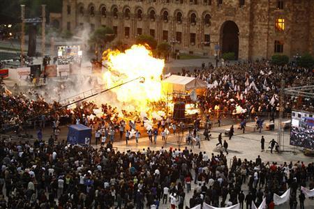 Armenia campaign rally blast hurts 144-officials