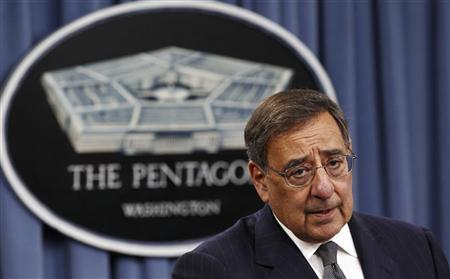U.S. Secretary of Defense Leon Panetta speaks during a joint news conference with China's Defence Minister Liang Guanglie following their meeting at the Pentagon in Washington May 7, 2012. REUTERS/Kevin Lamarque