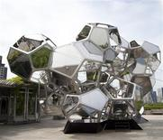"""Argentine artist Tomas Saraceno's """"Cloud City"""" exhibit, a constellation of 16 interconnected modules is seen at the rooftop of The Metropolitan Museum of Art in New York in a handout photo. REUTERS/Tomas Saraceno/Handout"""