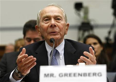 """Former American International Group (AIG) CEO Maurice Greenberg testifies before a House Oversight and Government Reform hearing on """"The Collapse and Federal Rescue of A.I.G. and What It Means for the U.S. Economy"""" on Capitol Hill in Washington April 2, 2009. REUTERS/Kevin Lamarque"""