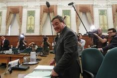 Canada's Finance Minister Jim Flaherty arrives to testify before the Commons finance committee on Parliament Hill in Ottawa May 15, 2012. REUTERS/Chris Wattie