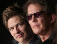 """Director Thomas Vinterberg (L) and cast member Thomas Bo Larsen pose during a news conference for the film """"Jagten"""", in competition at the 65th Cannes Film Festival, May 20, 2012. REUTERS/Yves Herman"""