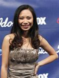 "Contestant Jessica Sanchez poses at the party for the finalists of the television show ""American Idol"" in Los Angeles, California March 1, 2012. REUTERS/Mario Anzuoni"