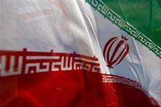 Флаг Ирана на 14-й по счету выставке IOGPE в Тегеране, 21 апреля 2009 года. Нефть дешевеет на фоне растущих надежд на соглашение Ирана с Международным агентством по атомной энергии (МАГАТЭ) и беспокойства о долговом кризисе еврозоны и замедлении роста китайской экономики. REUTERS/Morteza Nikoubazl