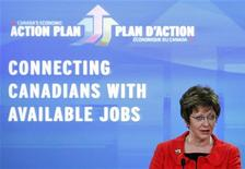 Minister of Human Resources and Skills Development Diane Finley takes part in a news conference in Ottawa May 24, 2012. Canada's Conservative government announced tighter rules for employment insurance on Thursday to try to deal with the anomaly of high unemployment alongside job shortages in certain areas. REUTERS/Blair Gable