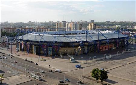 An aerial view shows the Metalist Stadium in Kharkiv May 21, 2012. REUTERS/Dmitry Neymyrok