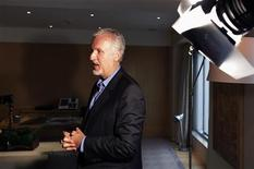 Canadian film director James Cameron talks to journalists before an interview with Reuters at a hotel room in Beijing, April 22, 2012. REUTERS/Barry Huang