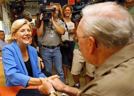 Democrat Warren talks tough in tight Senate race