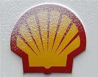 Снег на логотипе Shell на заправочной станции в Стамбуле 17 февраля 2012 года. Цены на нефть продолжат снижение во втором полугодии из-за замедления роста мировой экономики и сокращения политической напряженности в мире, сказал генеральный директор Royal Dutch Shell Питер Восер в интервью Рейтер. REUTERS/Osman Orsal