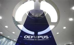 A logo of Japan's Olympus Corp is pictured at the company headquarters in Tokyo April 3, 2012. REUTERS/Yuriko Nakao