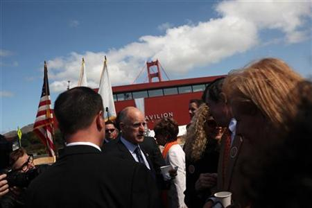 California Governor Jerry Brown (C) talks with the crowd prior to the opening of a new visitors' center at the Golden Gate Bridge in San Francisco, California May 25, 2012. REUTERS/Robert Galbraith
