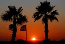 A Greek flag flutters as the sun sets framed by palm trees on the beach front of Olympia Riviera resort in the town of Killini, some 285 kms southwest of Athens May 31, 2012. REUTERS/Yannis Behrakis