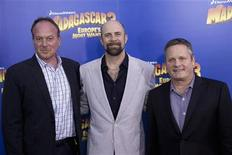 "Directors Tom McGrath (L), Conrad Vernon and Eric Darnell (R) arrive for the premiere of ""Madagascar 3: Europe's Most Wanted"", in New York June 7, 2012. REUTERS/Andrew Kelly"