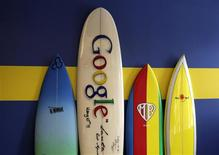 Surfboards lean against a wall at the Google office in Santa Monica, California, in this October 11, 2010 file photo. REUTERS/Lucy Nicholson/Files