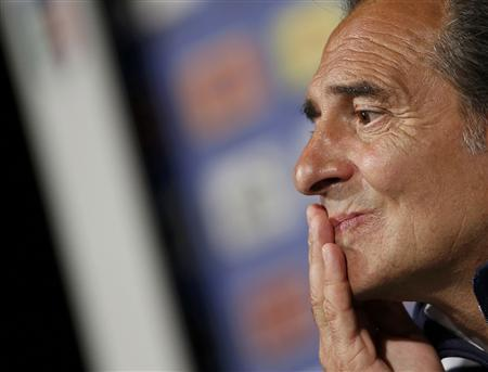 Italy's national soccer coach Cesare Prandelli listens to reporter's question at a news conference during the Euro 2012 in Krakow June 11, 2012. REUTERS/Tony Gentile
