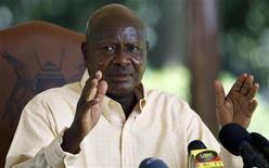 Uganda's President Yoweri Museveni reacts during a news conference at the Nakasero State Lodge in the capital Kampala, October 16, 2011. REUTERS/Edward Echwalu