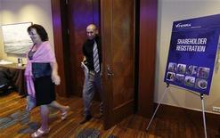 Viterra shareholders leave the special meeting of shareholders in Calgary, Alberta, May 29, 2012. REUTERS/Todd Korol