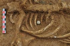 A musket ball placed between the ribs of the skeleton of a soldier killed in the Battle of Waterloo, is pictured at the site where the bones were found in Waterloo, in this handout photo taken June 5, 2012. The skeleton of the victim, probably British and with the initials C.B., has finally surfaced two centuries after he was shot in the chest during the battle in a find unrivalled in more than a century. REUTERS/Dominique Bosquet/SPW-DG04/Handout