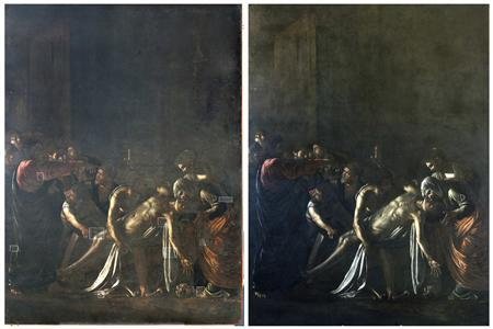 A combination picture shows Caravaggio's ''Resurrection of Lazarus'' before (L) and after its restoration in Rome June 15, 2012. The painting, one of the most hauntingly beautiful artworks by the master who lived at the cusp of the 16th and 17th centuries, has been restored for the first time in 60 years. The painting, also known as The Raising of Lazarus, was done by Caravaggio in Sicily, to where he fled from Malta in 1608. It was housed for centuries in the church of the Crociferi fathers in Messina before it was moved to that city's museum. The painting, believed to have been painted in 1609 - one year before his death at the age of 38 - depicts the story in the Gospel of St John in which Jesus raises Lazarus from the dead. The restoration took seven months and the painting, measuring 3.80 by 2.75 metres (around nine by 12 feet), will be on display in Rome's Palazzo Braschi, overlooking Piazza Navona, until July 15. REUTERS/Handout