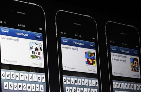 Facebook apps on iPhones are pictured. REUTERS/Stephen Lam