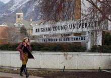 A student walks past the entrance of Brigham Young University (BYU) in Provo February 16, 2012. U.S. Republican presidential candidate Mitt Romney graduated from BYU in 1971. REUTERS/George Frey
