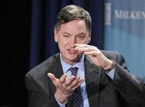 "Charles Evans, President and CEO, Federal Reserve Bank of Chicago, takes part in a panel discussion titled ""Twist and Shout: The Limits of U.S. Monetary Policy"" at the Milken Institute Global Conference in Beverly Hills, California May 1, 2012. REUTERS/Danny Moloshok"