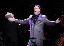 """Musician Bryn Terfel perform during the benefit """"Songs From the Silverscreen"""" to raise funds for The Rainforest Trust at Caregie Hall in New York, April 3, 2012. REUTERS/Carlo Allegri"""