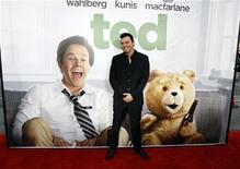 """Writer, director and cast member Seth MacFarlane poses at the premiere of """"Ted"""" at the Grauman's Chinese theatre in Hollywood, California June 21, 2012. The movie opens in the U.S. on June 29. REUTERS/Mario Anzuoni"""