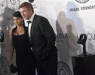 Actor Alec Baldwin and his fiance Hilaria Thomas arrive before The Friars Club and Friars Foundation honored Tom Cruise with the Entertainment Icon Award at the Waldorf Astoria in New York June 12, 2012. REUTERS/Andrew Kelly