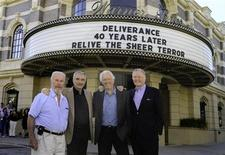 """Actors (L-R) Ned Beatty, Burt Reynolds, Ronny Cox and Jon Voight pose at the Steven J. Ross Theatre at Warner Bros. Studios in Burbank, Calif. in this June 28, 2012 publicity photograph to celebrate the 40th anniversary and Warner Home Video Blu-ray release of the film """"Deliverance,"""" their Oscar nominated film they made together four decades ago. REUTERS/Peter Zakhary/Tilt Photo/Handout"""