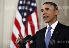 U.S. President Barack Obama makes Speaks at the White House in Washington, June 28, 2012. REUTERS/Luke Sharrett