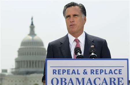 U.S. Republican Presidential candidate Mitt Romney gives his reaction to the Supreme Court's upholding key parts of President Barack Obama's signature healthcare overhaul law on a rooftop overlooking the U.S. Capitol in Washington June 28, 2012. REUTERS/Jonathan Ernst
