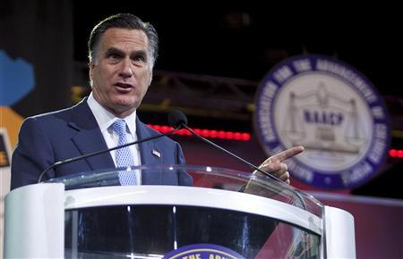 Republican presidential candidate Mitt Romney speaks at the NAACP convention in Houston July 11, 2012. REUTERS/Richard Carson