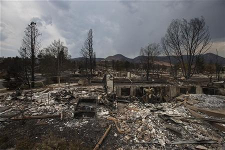 Houses in the Mountain Shadows subdivision are seen leveled after the community was ravaged by the Waldo Canyon fire in Colorado Springs, Colorado July 2, 2012. Residents began returning to charred areas of Colorado Springs on Sunday after the most destructive wildfire in Colorado history forced tens of thousands of people from their homes and left the landscape a blackened wasteland. The so-called Waldo Canyon Fire has scorched 17,659 acres (7,149 hectares), burned 346 homes and devastated communities around Colorado Springs, the state's second-largest city, since it began eight days ago. REUTERS/Adrees Latif