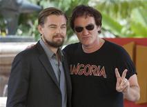 "U.S actors Leonardo DiCaprio (L) and Quentin Tarantino, pose during the launch of their film ""Django Unchained"" in Cancun April 15, 2012. REUTERS/Victor Ruiz Garcia"