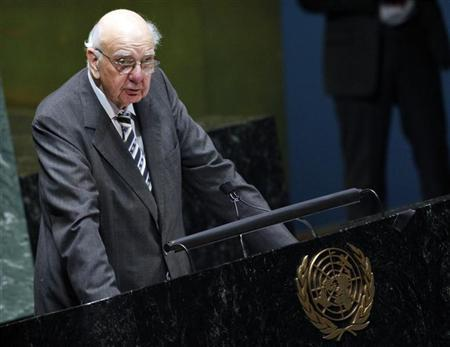 Paul Volcker, former head of the United States Federal Reserve, addresses the United Nations General Assembly on the ''State of the World Economy and Finance in 2012'' at U.N. headquarters in New York May 17, 2012. REUTERS/Eduardo Munoz